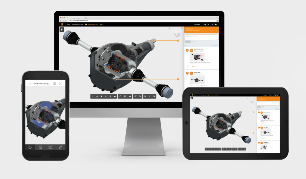 Autodesk Fusion Team on different platforms, desktop, mobile, and tablet
