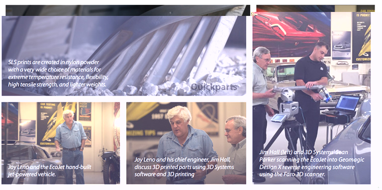 collage of Jay Leno interaction with 3d printing and 3d scanning